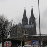 Cologne Cathedral from the riverbank.